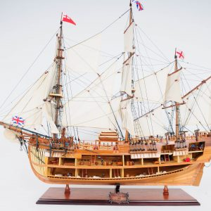 """HMS Endeavour Open Hull 37"""" Quality Tall Ship Model"""